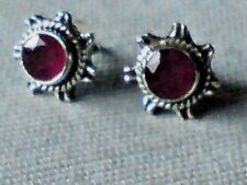 STERLING SILVER10mm STAR SHAPED STUD EARRINGS with FACETED RUBY STONES £12.50nwt