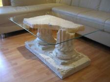 Rechteckiger Glastisch Couchtisch Marmortisch Griechischer Tisch 100 x 70 Creme