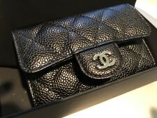 New Auth CHANEL Small Caviar Wallet Card Case Black Silver HW Italy Beautiful
