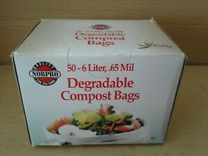 Norpro 50-6 Liter,.65 Mil 100% Degradable&Compostable Compost Bags.New Sealed