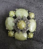 VINTAGE Miracle Scottish Celtic Brooch Pin connemara marble Glass Stones
