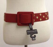 "APOSTROPHE New Wide Red Belt Gold Gromet Holes Cheetah Print Vegan Leather  38"""