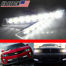 2x  LED Bars Strips SMD Switchback Lights Lamps Fog Bulbs DRL With Turn Signal
