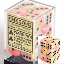 Chessex Dice d6 Set 16mm Festive Circus Black Pips 6 Sided Die 12 Sets CHX 27642