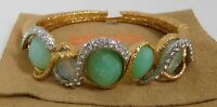 Alexis Bittar Green Jeweled Crystal Gold Metal Hinged Bracelet