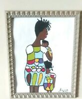 African American Art Woman and Child Colorful 11x14 Poster Oil -Acrylic