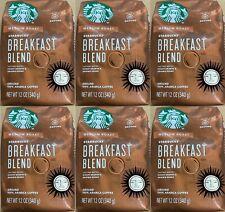 6 Bags Starbucks Breakfast Blend Medium Roast Ground Coffee 12 Oz Each 12/2020