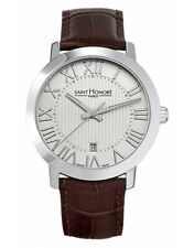 SAINT HONORE Swiss Made Mens Watch with Leather Strap and Sapphire Glass