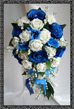 Wedding Flowers, brides teardrop bouquet Ivory/navy/royal & lily of the valley