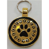 Engraved Pet Dog ID Name Tag Dog Gold with Black Paw