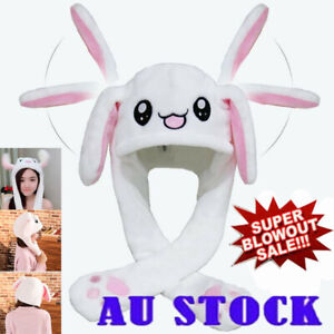 Funny Rabbit Bunny Ear Moving Hat Airbag Cap Soft Plush Cute Hats Toys Gift #T