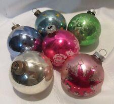 "6 Vintage Christmas Ornaments - Balls - Mica - Stencil - Snowcap  - Pink -  2.5"""