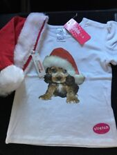 Girls Christmas T-shirt with Puppy motif. Plus Hat. Size 1. New. Glen Iris Vic.