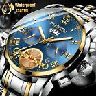 FNGEEN Mens Watch Relojes De Hombre Stainless Steel Quartz Classic Waterproof