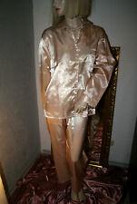 SATIN Glanz Pyjama * Negligee - Anzug * Pyjama GOLD glatt   38/40