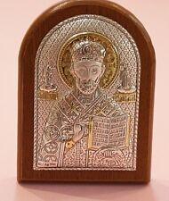 Icona Piccola San Nicola di Bari in Bilaminato di Argento bomboniera retro legno
