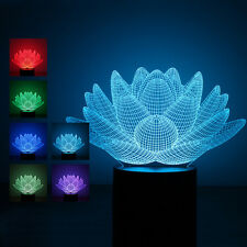 7Color Changing Touch Sensor Lotus Flower Night Light 3D Stereoscopic Table Lamp