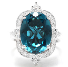 12.75 Carats Natural LONDON BLUE TOPAZ and Diamond 14K White Gold Ring