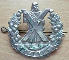 Badge- VINTAGE British Army Cameron Highlanders Cap Badge (WM, Genuine*)