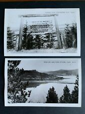 Lot of 2 RPPC Postcards Moscow Idaho - Lake Coeur d'Alene and Historic Road Sign