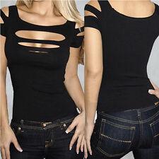 Women Basic Tee Sexy Ripped Slashed Black Tight T-Shirt Clubwear Tops DI