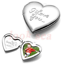I LOVE U Silvery Carved Heart Photo Picture Frame Locket Pendant Fit Necklace