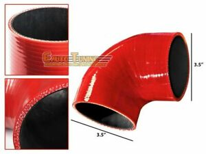 "3.5"" Silicone Hose/Intercooler Pipe Elbow Coupler RED For Plymouth/Pontiac"