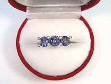 TANZANITE & WHITE SAPPHIRE RING 2.28 CTW #7  WHITE GOLD over 925 STERLING SILVER