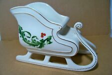 Porcelain Ftd Christmas Sleigh Holly Design Holiday Planter Candy Dish Deco
