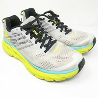 Hoka One One Mens Clifton 6 1102872 LRNC Gray Lime Running Shoes Lace Up Size 9