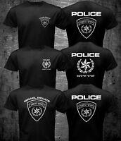 New Special Israel Israeli Police Force Logo Black Navy Blue T-shirt