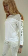 MARCCAIN Damen Sweatshirt N6 44 XXL Baumwollmischung weiß bunt Langarm Pullover