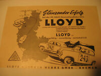 Automobil Originalwerbung 1950.Jahre:Lloyd Motoren,Bremen -Oldimer advertising