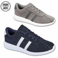 Mens Hamilton Suede Trainers Stripe Casual Gym Comfort  Lace Up Sports Shoe Size