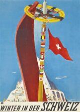 Vintage Ski Posters WINTER IN DER SCHWEIZ, 1937, Art Deco Travel Print