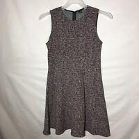 Theory Tweed Knit Sheath Sleeveless Dress Black Red White Size 8
