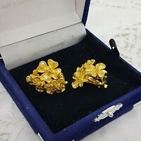 VINTAGE Floral Clip-On Earrings Gold Tone Bunch Flowers Spring Bold Statement