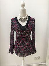 East 14 Floral Pink Purple Black Long Sleeve Chiffon Blouse Pleat Pleated