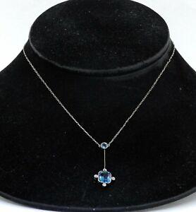 Antique Platinum/14K YG 3.60CT VS2/F aquamarine & diamond pendant necklace