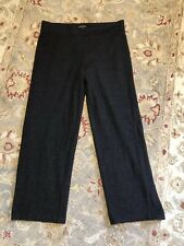 Eileen Fisher Charcoal Gray 100% Wool Knit Straight Leg Pull On Pants Size Large