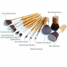 LATEST DESIGN 11 PCS ANIMAL-CRUELTY-FREE MAKEUP BRUSHES SET BAMBOO HANDLE TOOL*