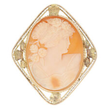 Yellow Gold Carved Shell Cameo Brooch / Pendant - 14k Convertible Vintage Pin