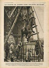 Statue Jeanne d'Arc de Paul Dubois Reims Poilus/Cuirassé Requin Canal  1918 WWI