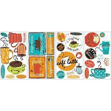 CAFE wall stickers 32 COLORFUL decal stick ups COFFEE LATTE CAPPUCCINO ESPRESSO