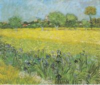 """oil painting handpainted on canvas """"landscape with irises in the foreground"""""""
