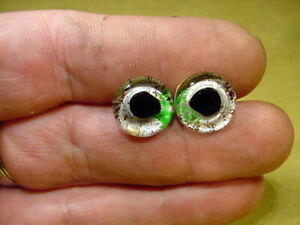 a pair vintage solid Glass Eyes Ø 13 mm for fish Taxidermy or doll age 1930 4891