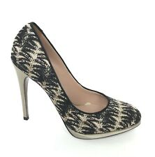 Missoni Italy Black Gold Knit Pumps Heels Shoes Women's 37 US 7