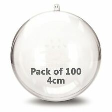 JFM 4cm Clear Plastic Craft Ball Acrylic Transparent Sphere Bauble Pack of 100