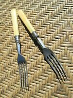 Set of 2 Vintage Bakelite Handle Desert Forks-4 Tines