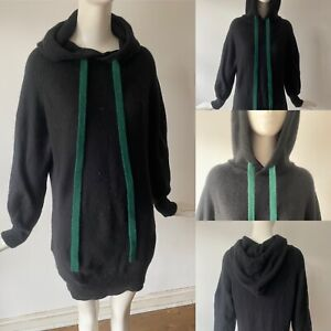 Zadig & Voltaire luxury pure cashmere hooded jumper dress with pockets L 12 40